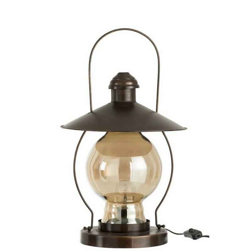 Lampe à poser Lanterne marron foncé et ambre