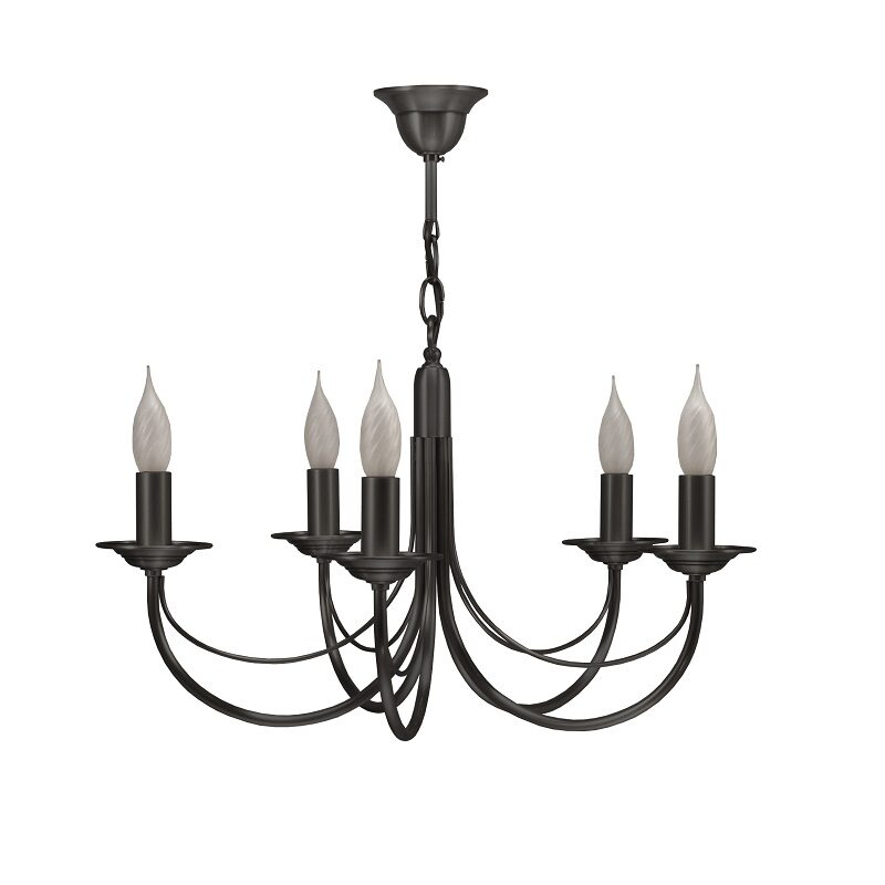 Lustre bougie Chatelet 5 lumières nickel CVL