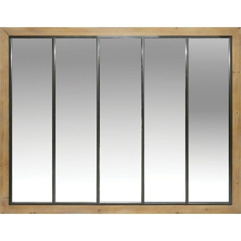 Miroir en bois et métal