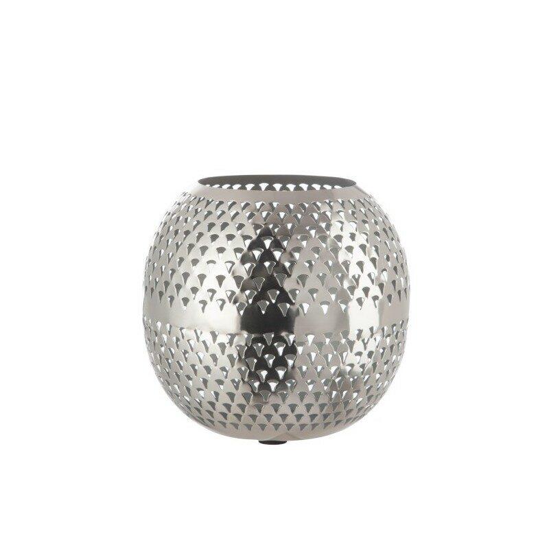 Photophore boule motif triangle argent petit modèle