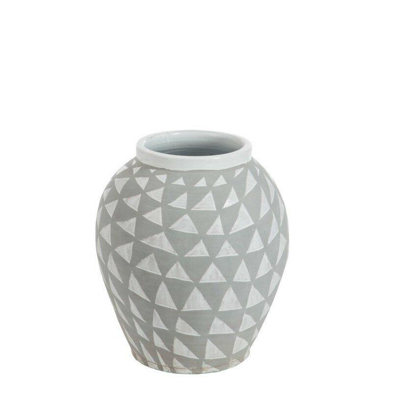 Vase ethnique triangle gris et blanc 59 cm
