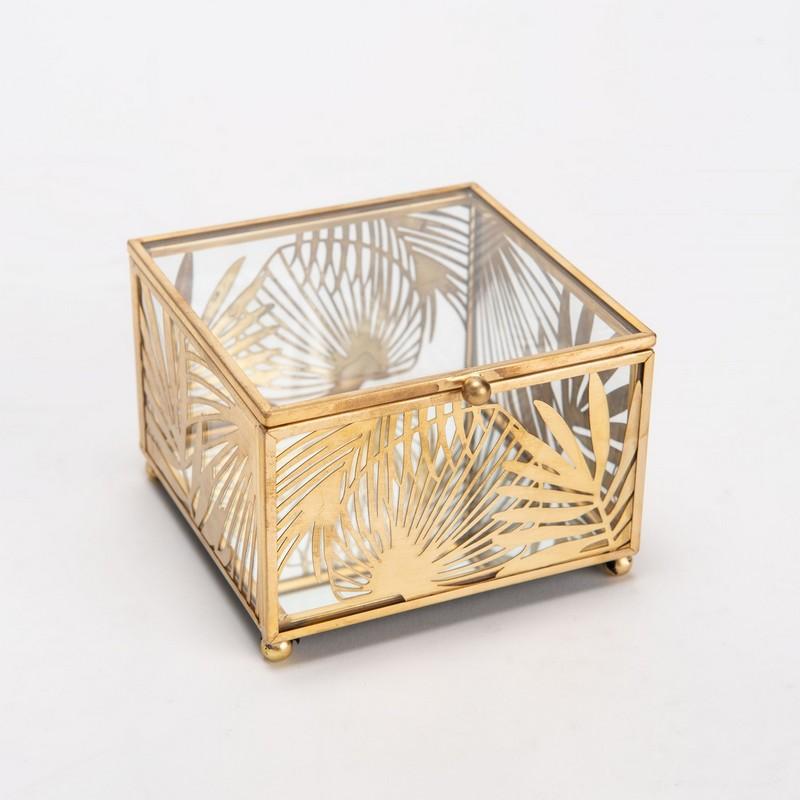Boite à bijoux feuille or