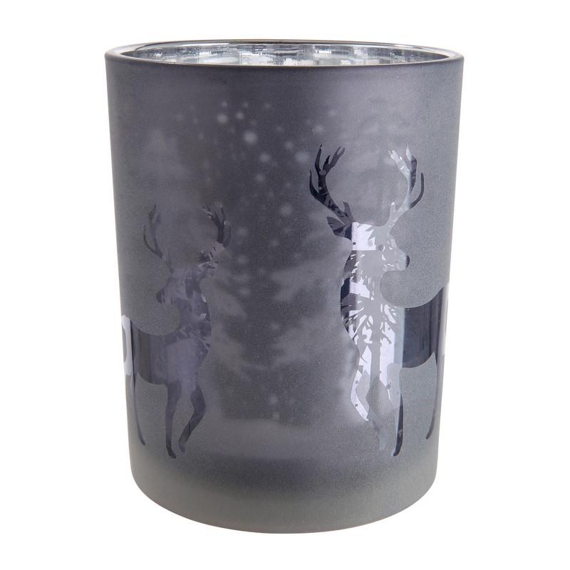 Bougeoir Forêt de cerfs gris 18 cm
