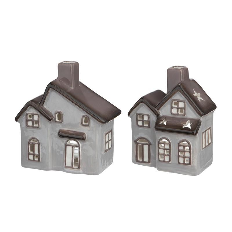 Bougeoir Maison grise en céramique 11 cm – au choix