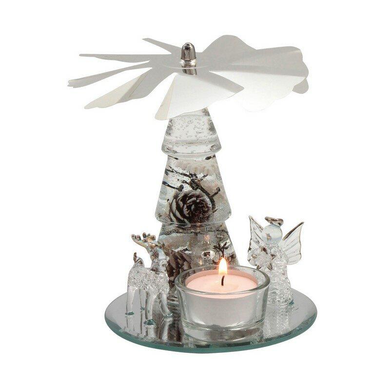 Bougeoir Noël verre argent 15 cm
