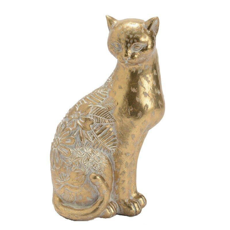 Chat doré debout 25 cm