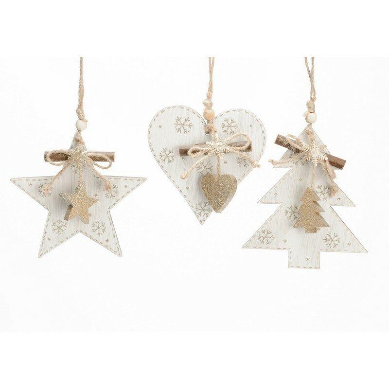 Décoration de Noël à suspendre blanche – au choix