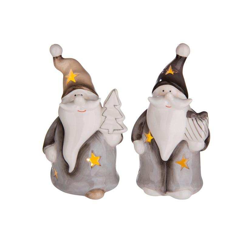 Père Noël LED en céramique crème et gris 13 cm – au choix