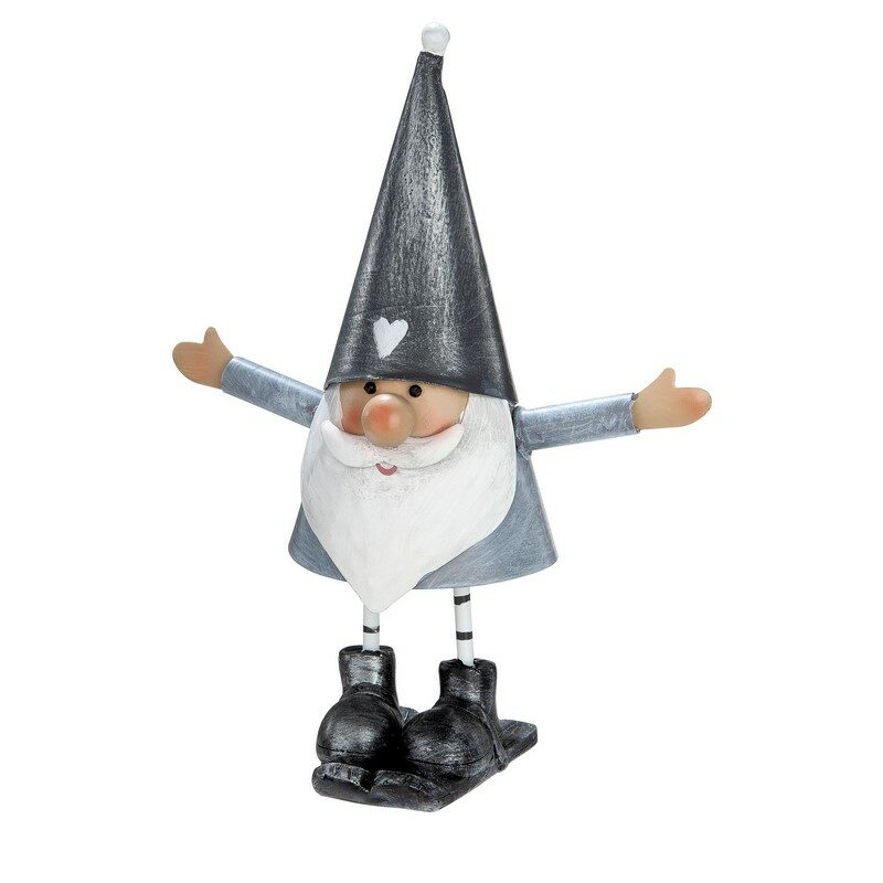 Figurine Santa gris et blanc 19 cm