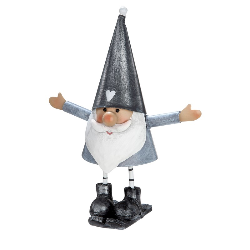 Figurine Santa gris et blanc 26 cm
