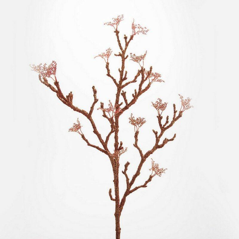 Fleur artificielle branche Corail cuivre 100 cm