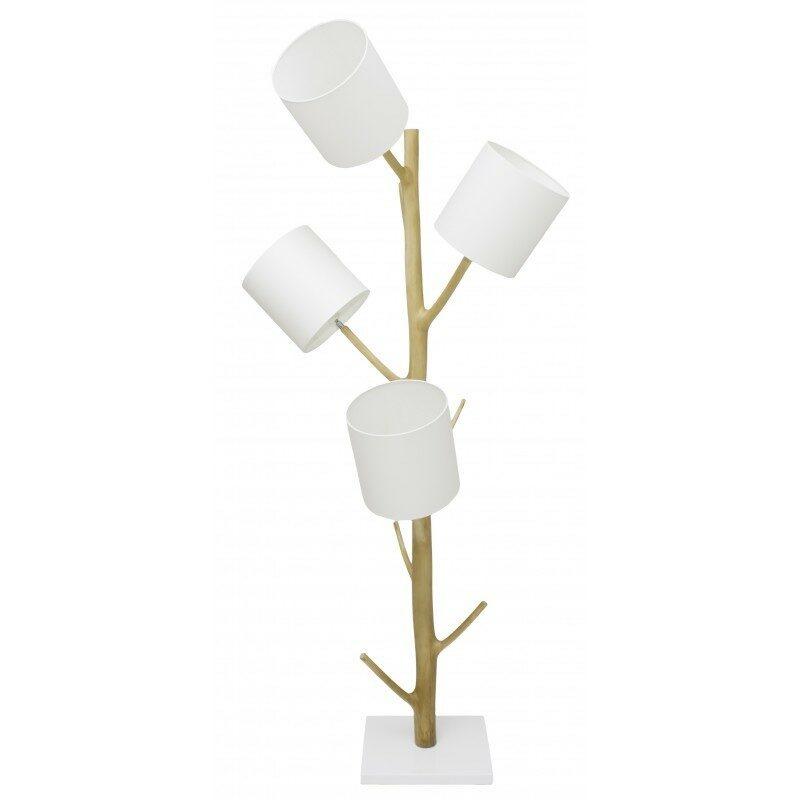 Lampadaire bois et blanc Lemoni 4 lumières