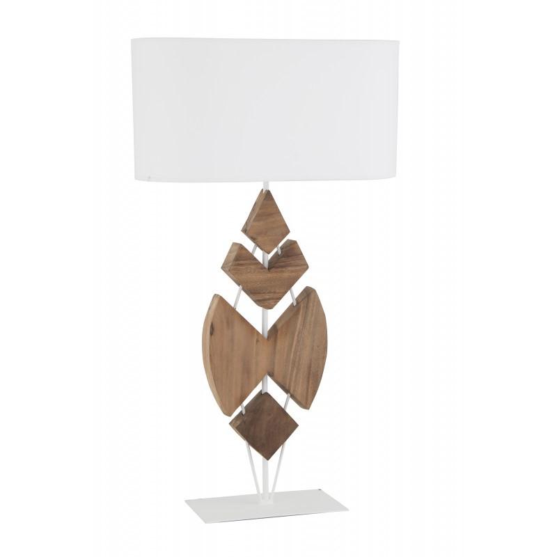 Lampe à poser Nusa bois flotté et blanche