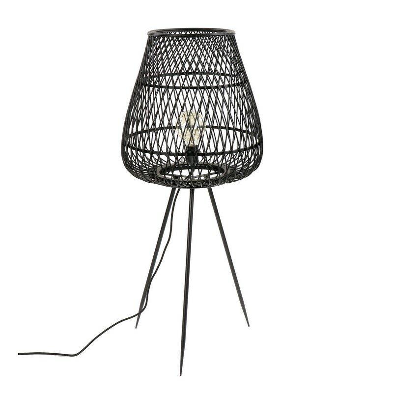 Lampe à poser trépied bambou noir Tao