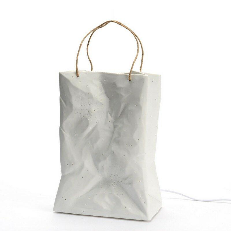 Lampe Sac en porcelaine blanc 25 cm