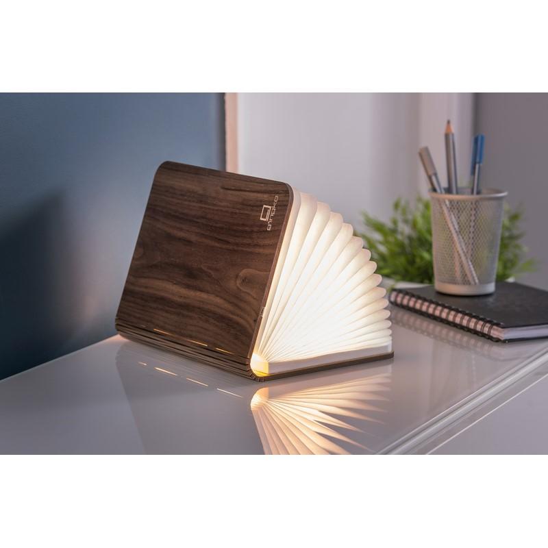 Lampe livre Smart Book Light en bois noyer petit modèle