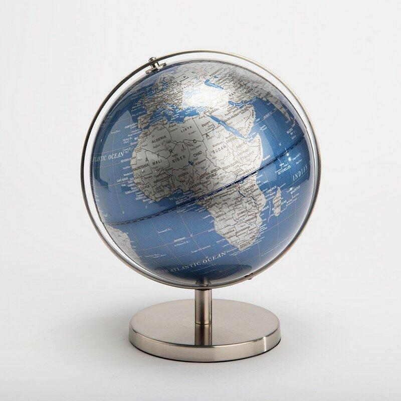 Mappemonde globe bleu et argent 26 cm
