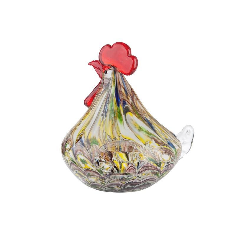 Poule Macula en verre 18 cm