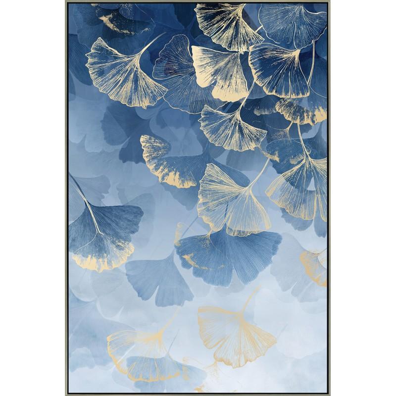 Toile Fleurs bleue et dorée 80 x 120 cm