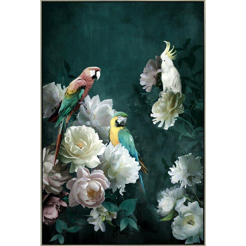Toile Perroquets Fleurs 80 x 120 cm