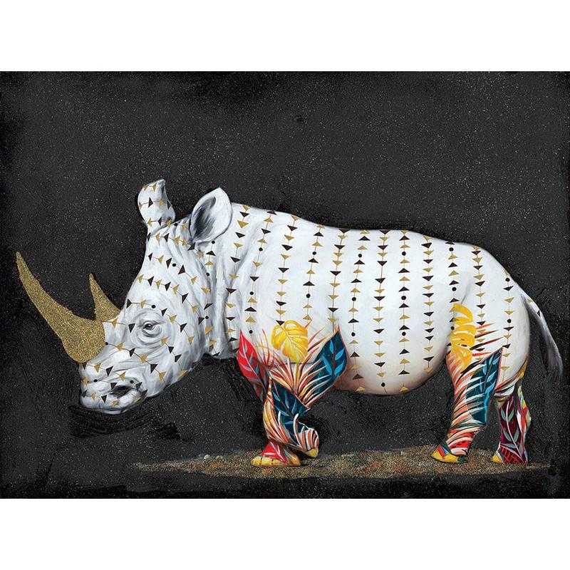 Toile Rhinocéros avec encadrement blanc et noir