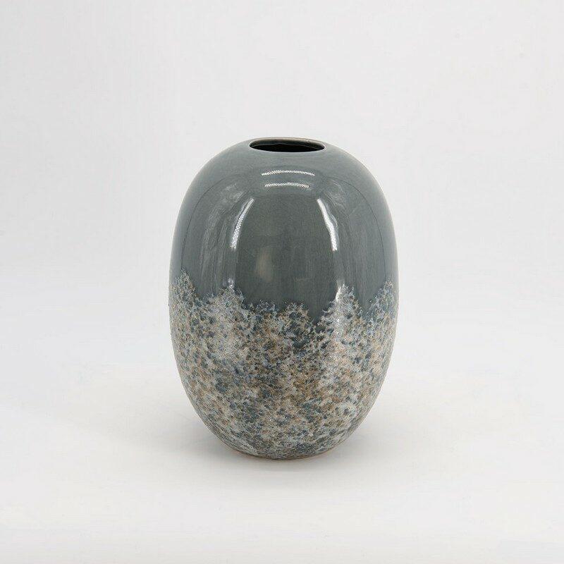 Vase lumière givrée gris 26 cm en céramique