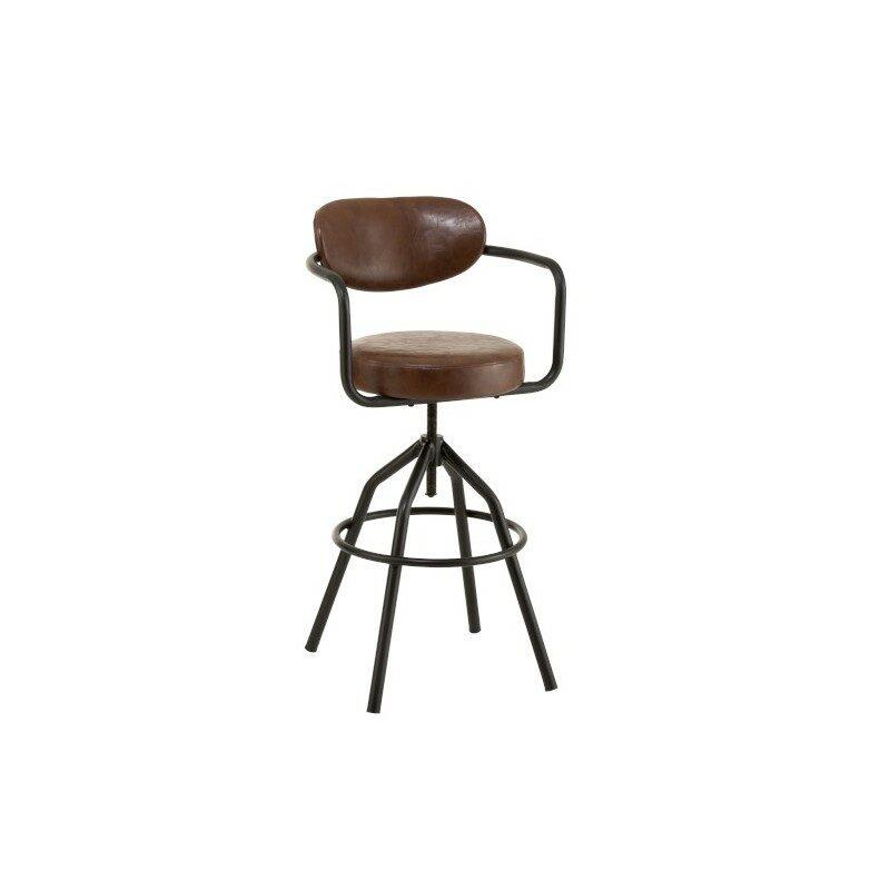 Chaise de bar ronde tournante marron et noir