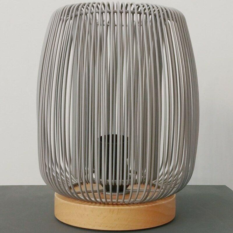 Lampe à poser Flyer métal gris et bois