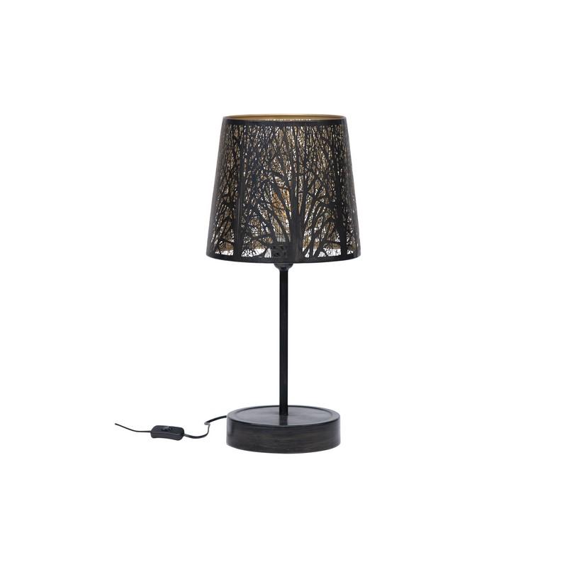 Lampe à poser noir et laiton antique Keto