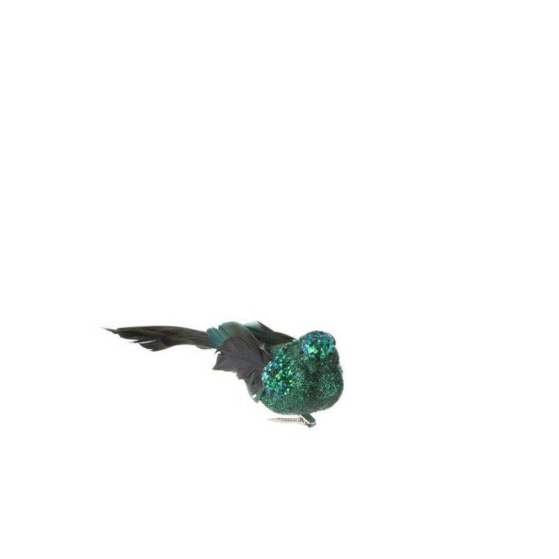 Clips Oiseaux Plume paillette vert