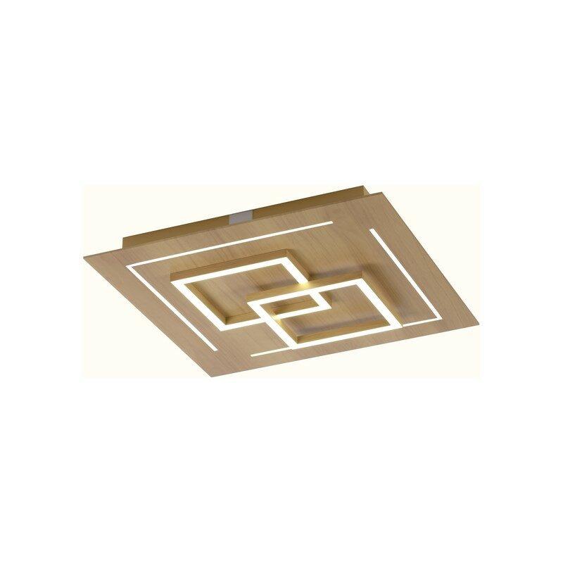 Plafonnier connecté LED Q-Linea décor bois
