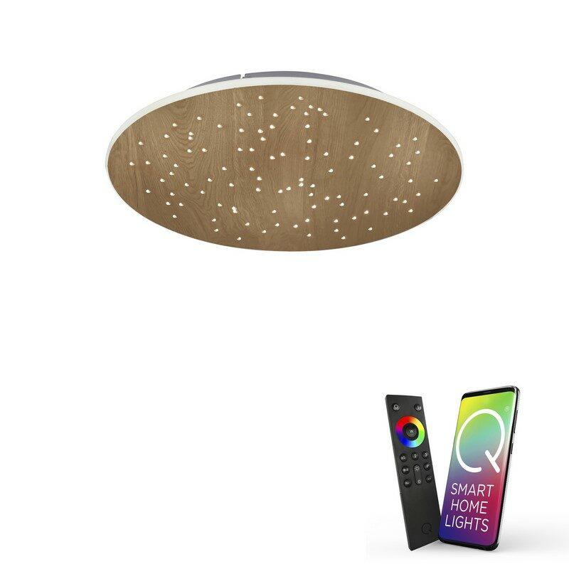 Plafonnier connecté LED Q-Nightsky décor bois