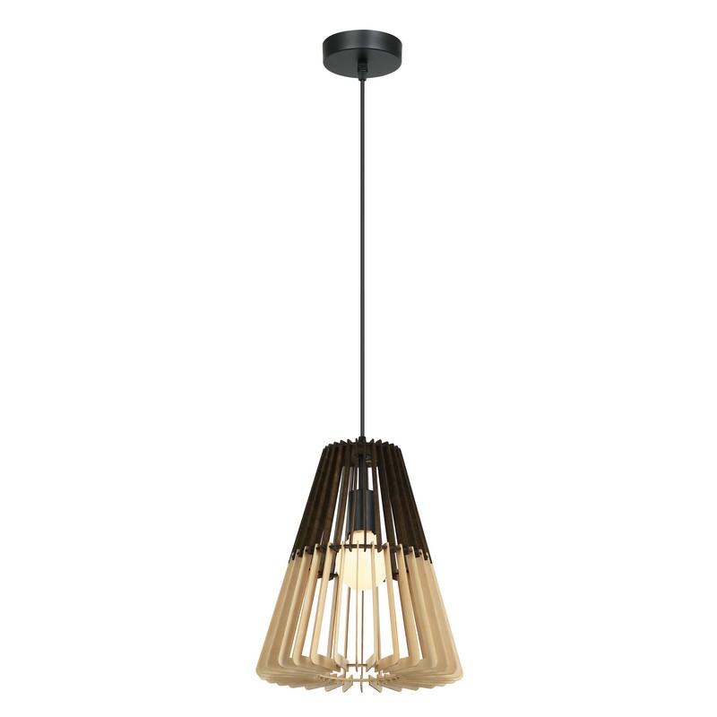 Suspension conique en bois noir et naturel 30 cm