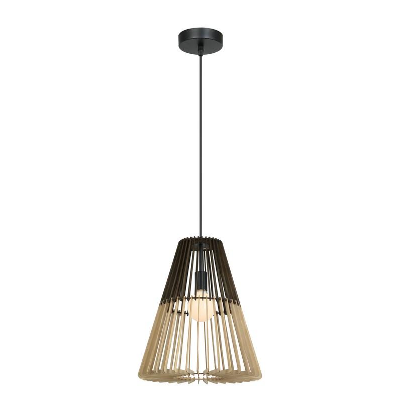 Suspension conique en bois noir et naturel 40 cm