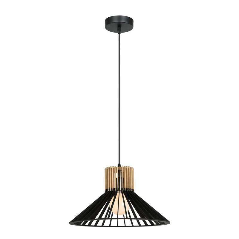 Suspension en bois noir et naturel 40 cm