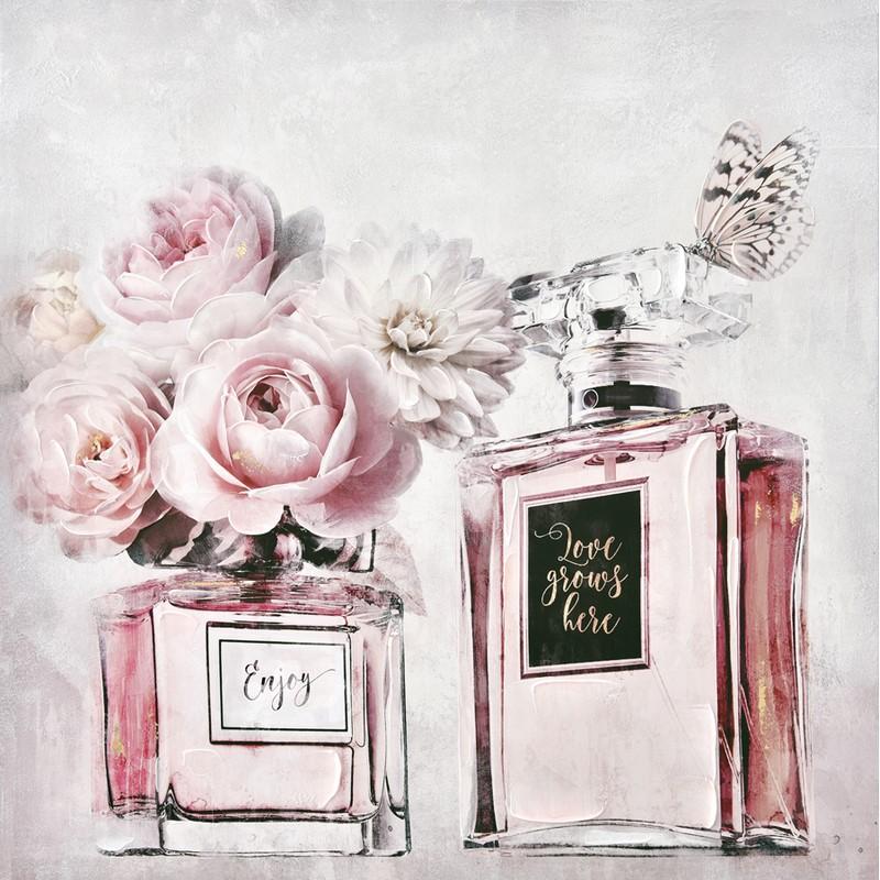 Toile Fleurs et Parfum encadrement noir