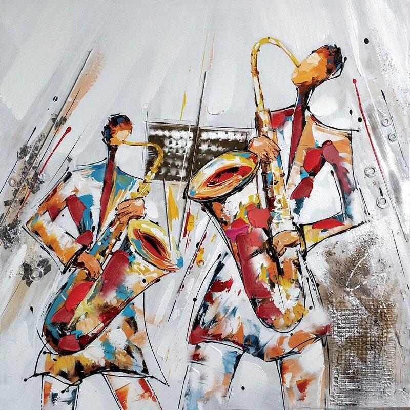 Toile Musiciens avec encadrement titane et noir