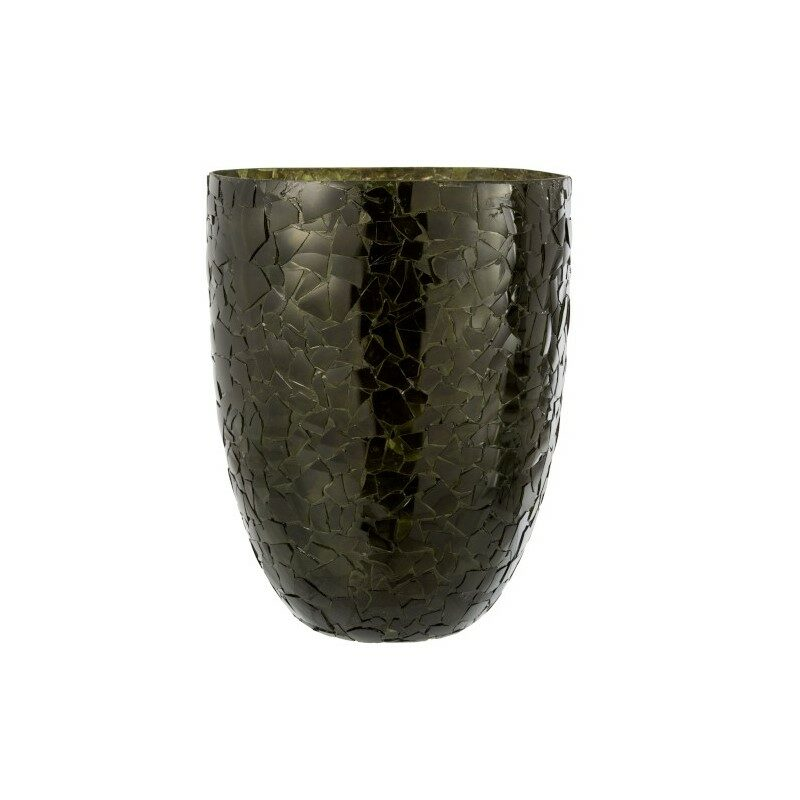 Vase éclats en verre Kaki