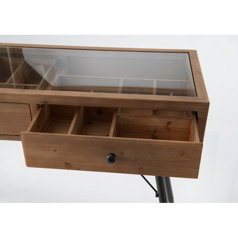Console vitrine 2 tiroirs
