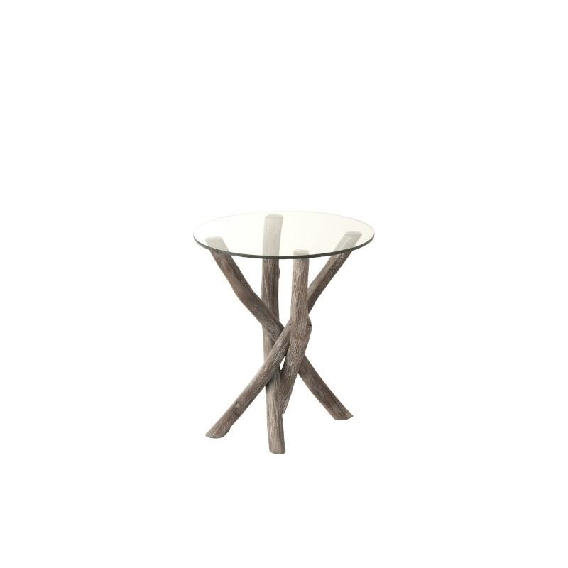 Bout de canapé Branches en bois et verre