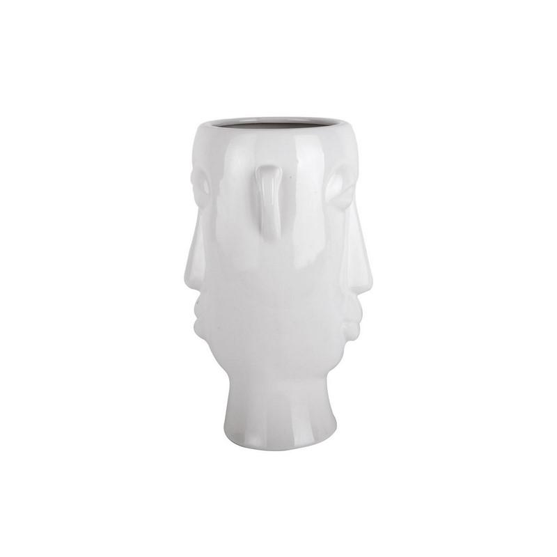 Cache-pot ou vase blanc émaillé Masque