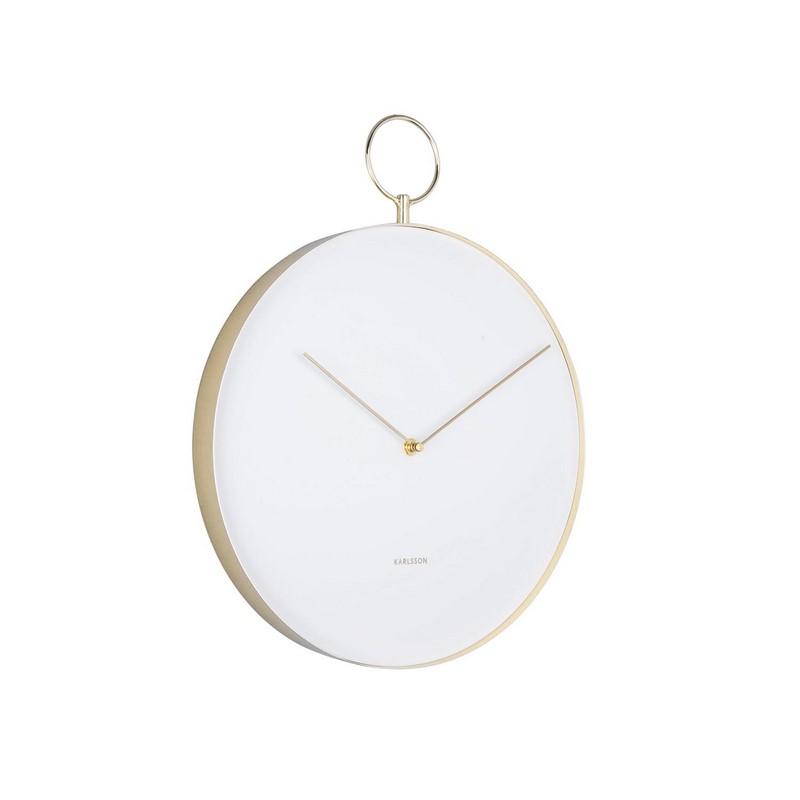 Horloge murale crochet blanche et dorée