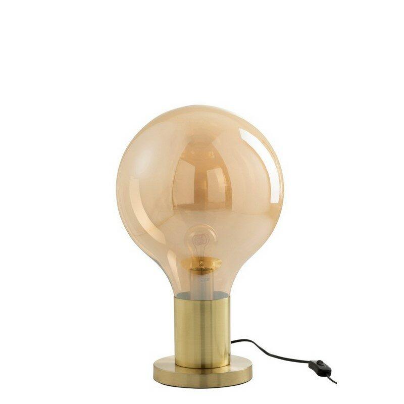 Lampe à poser Globe ambré et or