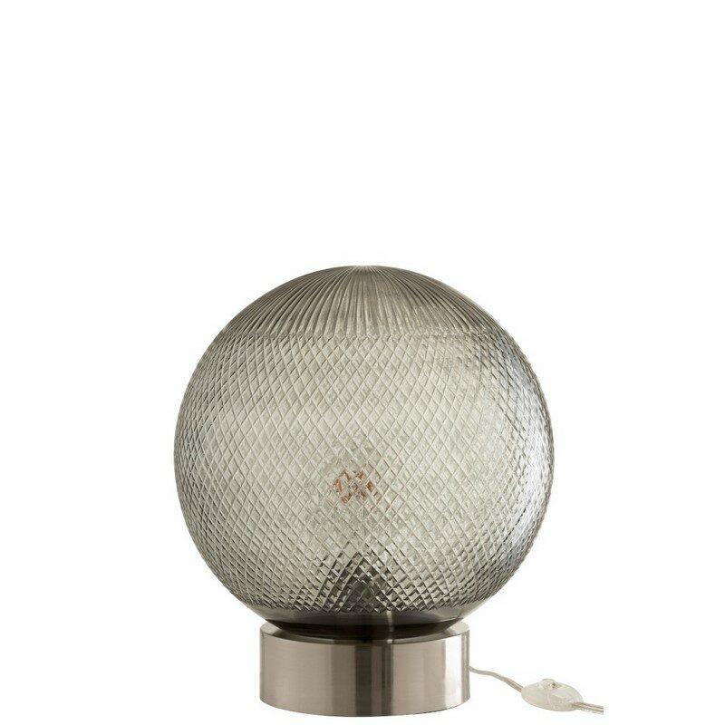 Lampe à poser boule en verre argent