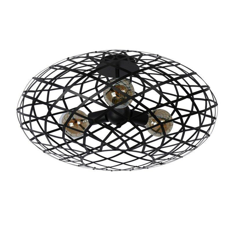 Plafonnier noir 3 lumières Wolfram 65 cm