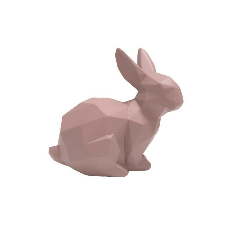Statue lapin origami assis rose