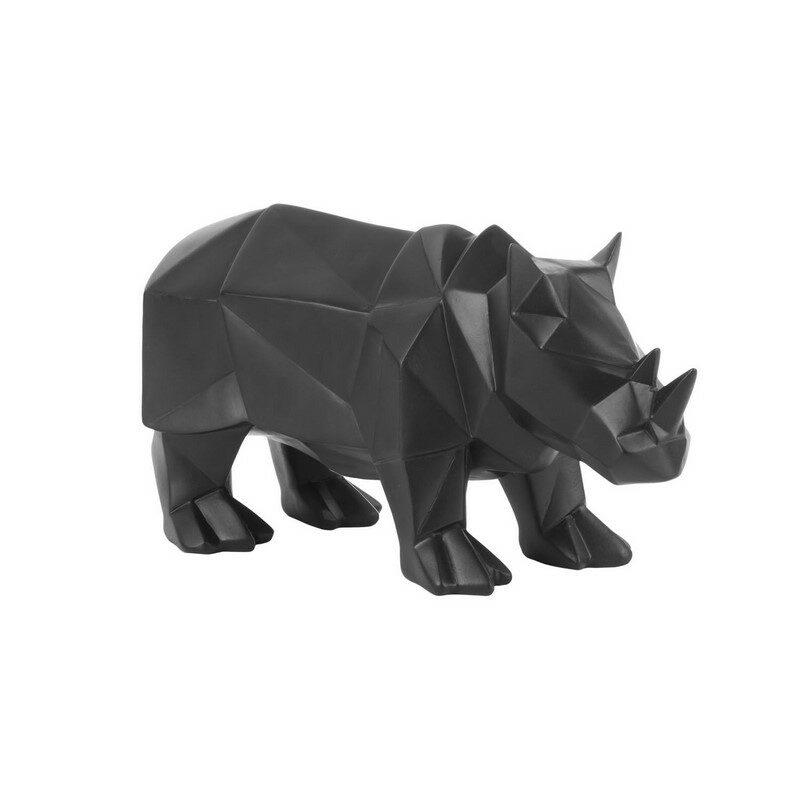 Statue origami noire Rhino