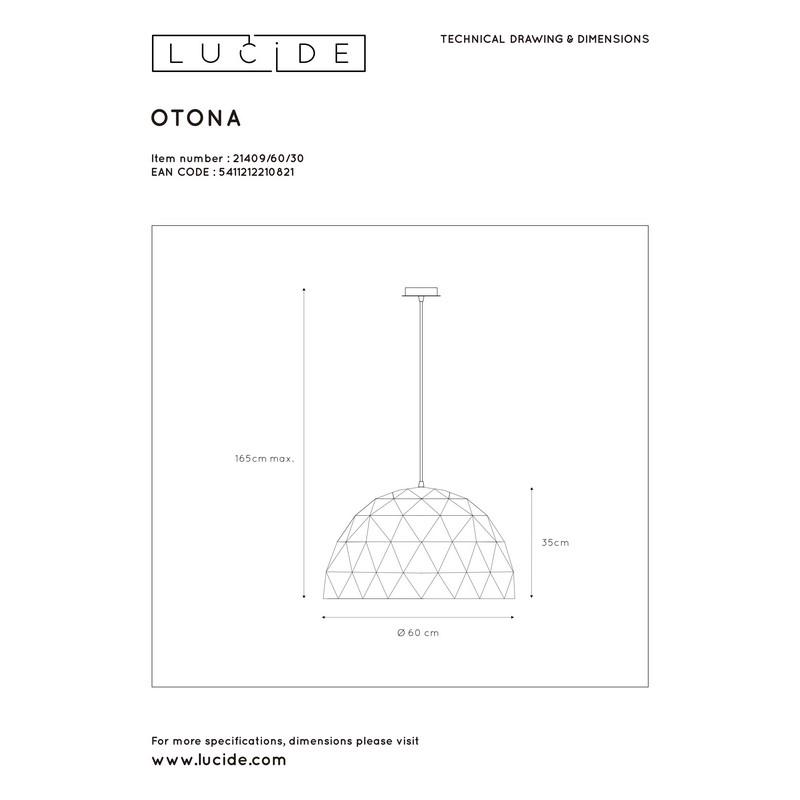 Suspension noire 60 cm Otona 3 lumières