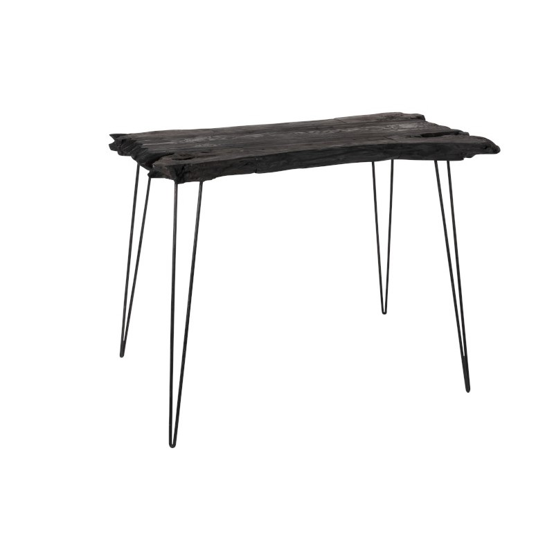 Table d'appoint en bois irrégulier noir