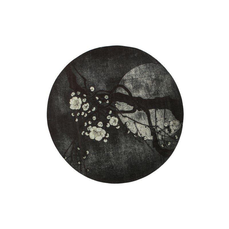 Tapis rond noir Night blossom